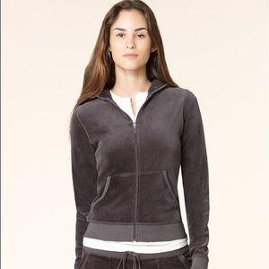 Juicy Couture Velour Zip-Up Jacket - Gray